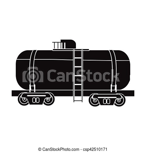Oil Tank Car Icon In Black Style Isolated On White Background Oil
