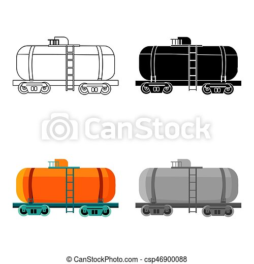 Oil Tank Car Icon In Cartoon Style Isolated On White Background Oil