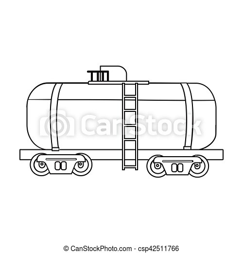 Oil Tank Car Icon In Outline Style Isolated On White Background Oil