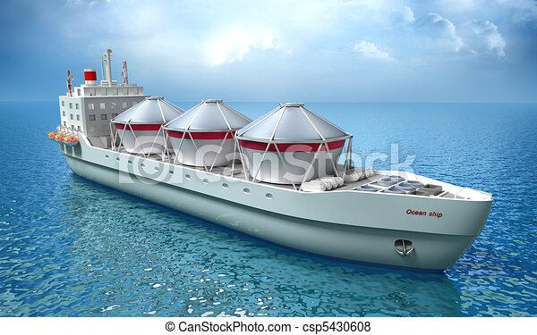 Oil Tanker ship sails in ocean - csp5430608