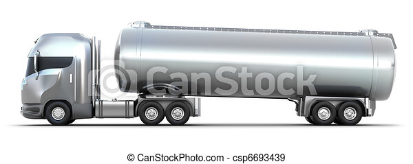 Oil Tanker truck. Isolated 3D image - csp6693439