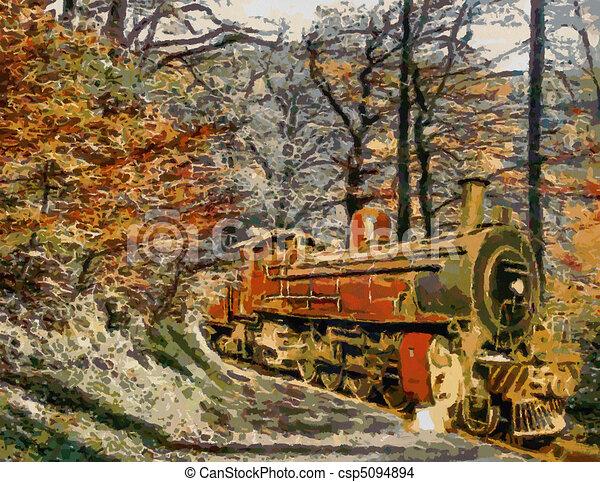 conduite oil train par for t orange painting vapeur. Black Bedroom Furniture Sets. Home Design Ideas