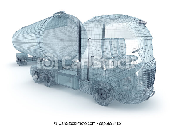 Oil truck with cargo container - csp6693482