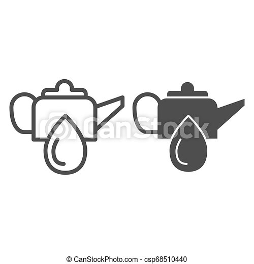 Oiler can line and glyph icon. Oiling can vector illustration isolated on white. Motor oil outline style design, designed for web and app. Eps 10. - csp68510440