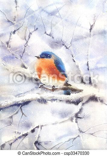 Oiseau Branche Seance Winter Seance Couleur Wet In Wet