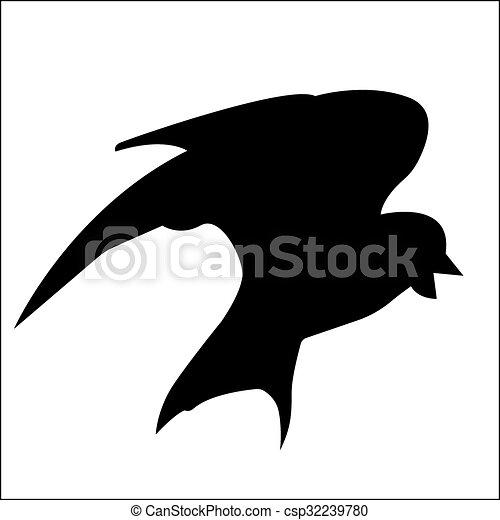 oiseau, eps, 10., vecteur, silhouette. - csp32239780