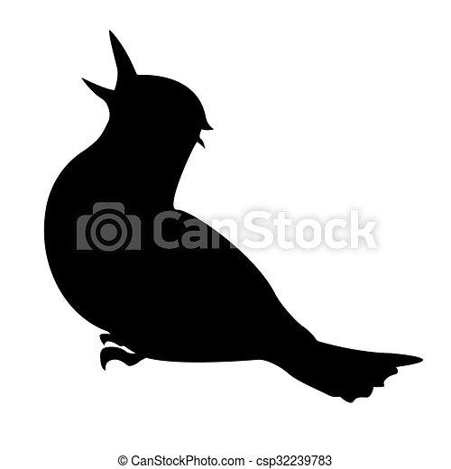 oiseau, eps, 10., vecteur, silhouette. - csp32239783