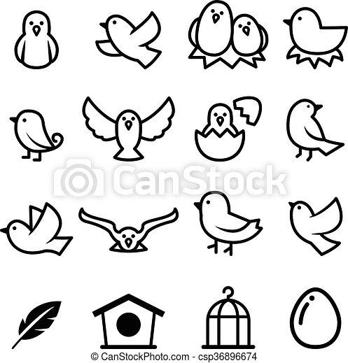 oiseau, icône - csp36896674