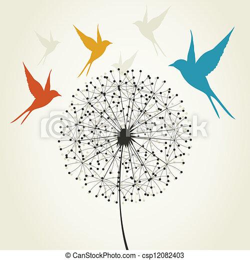 Oiseau pissenlit mouche illustration oiseaux vecteur dandelion rond - Oiseau mouche dessin ...