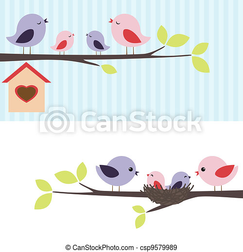 oiseaux, famille - csp9579989