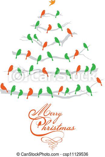 oiseaux, vecteur, arbre, noël - csp11129536