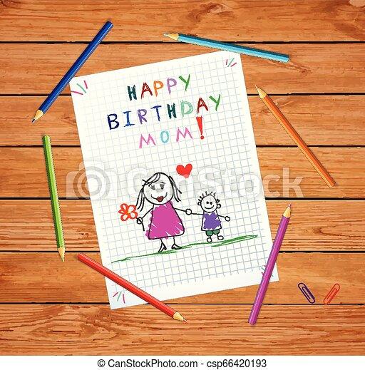 ojciec, syn, urodziny, mom., niemowlę, rysunek, szczęśliwy - csp66420193