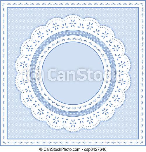Cuello de encaje, azul pastel - csp8427646