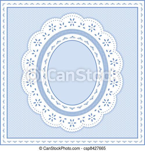 Cuello de encaje, azul pastel - csp8427665