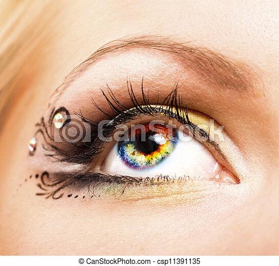 ojo, primer plano, colorido, humano - csp11391135
