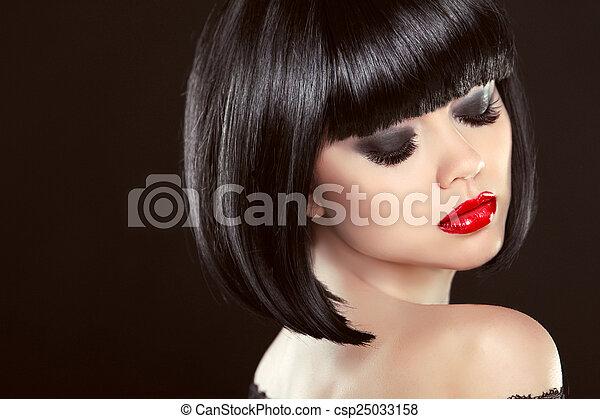 Ojos B Hairstyle Lips Ahumado Maquillaje Negro Sexy Mover Rojo Closeup Foto De Archivo