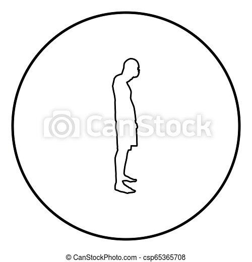 El hombre que cierra los ojos sus manos silueta de la vista lateral del icono ilustración de color negro en círculo - csp65365708