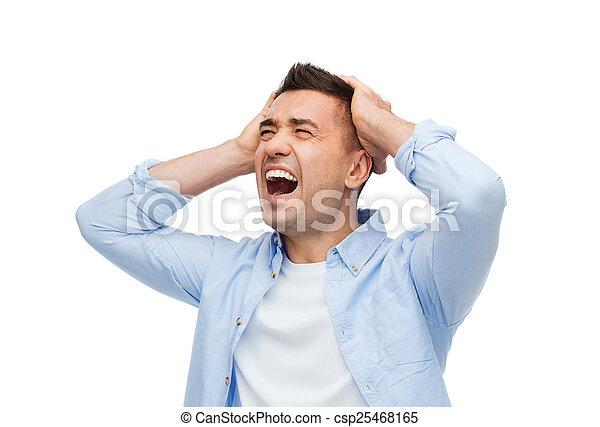 Un hombre infeliz con los ojos cerrados tocando su frente - csp25468165