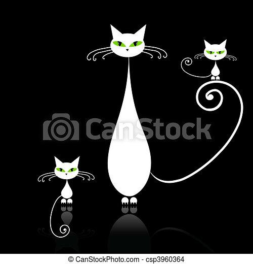 Ojos Familia Gatos Gato Verde Madre Negro Niños Blanco