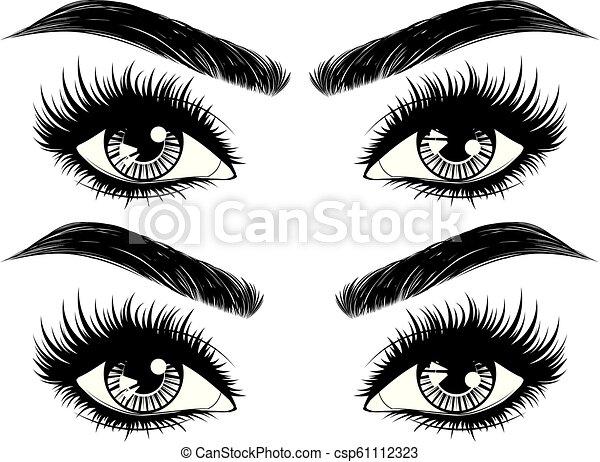 ojos con pestañas vector