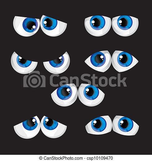 Ojos Grandes De Dibujos Animados Con Una Mirada Diferente En