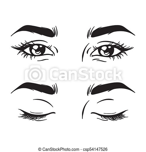 Ojos Hermosos Conjunto Cerrado Hembra Abierto Ojos Hermosos