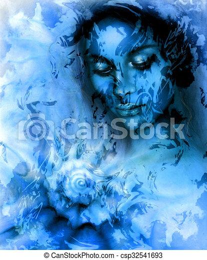 Ojos Hermosos Mujer Azul Concha Marina Color Meditar Resumen