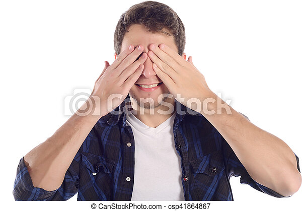 Hombre cubriendo los ojos con las manos. - csp41864867