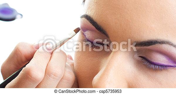 ojos, maquillaje, contorno, rutina - csp5735953