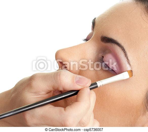 ojos, maquillaje, contorno, rutina - csp5736007