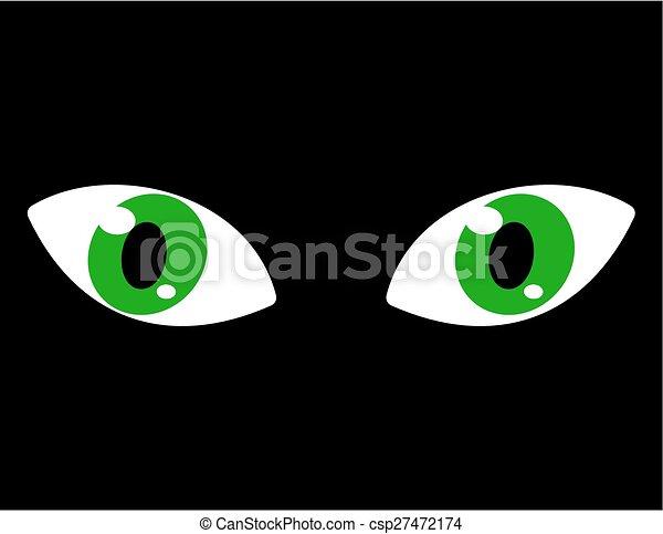 Ojos verdes en un fondo negro - csp27472174