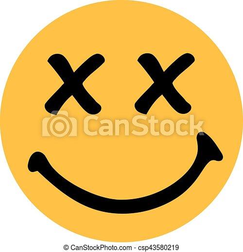 Sonriente amarillo con ojos para adultos - csp43580219