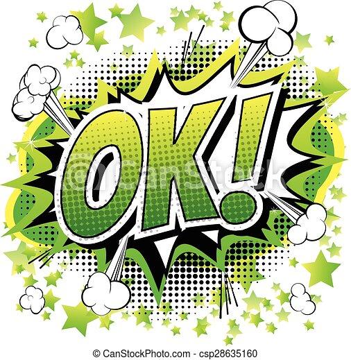 Ok - Comic-Buch, Zeichentrick-Ausdruck - csp28635160