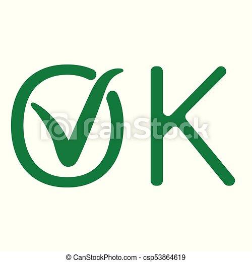 Ok, checkmark, zeichen, vektor, grün, zustimmung, wort, zecke ...