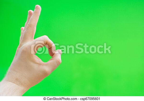 ok, chroma, gesture., mano, advertisement., posto, key., maschio, tuo, mostra - csp67095601