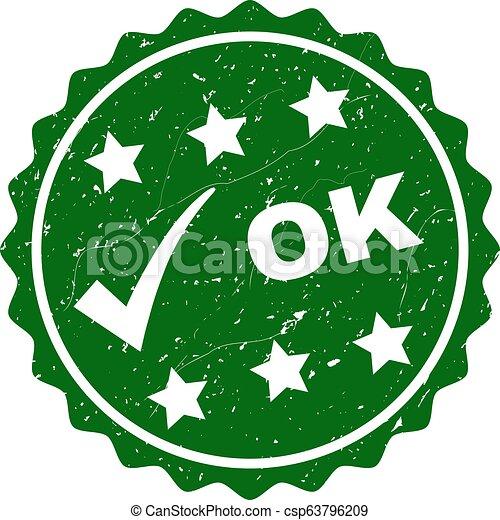 OK Grunge Stamp with Tick - csp63796209