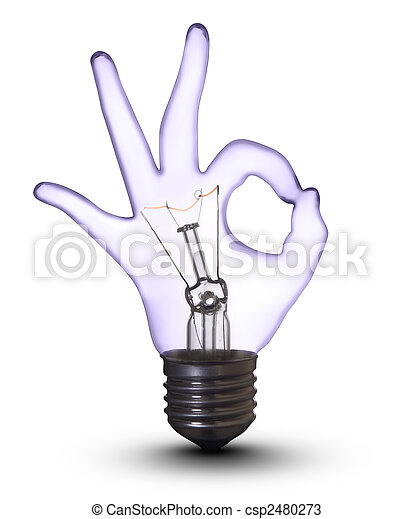OK hand lamp bulb on white (with clipping path) - csp2480273