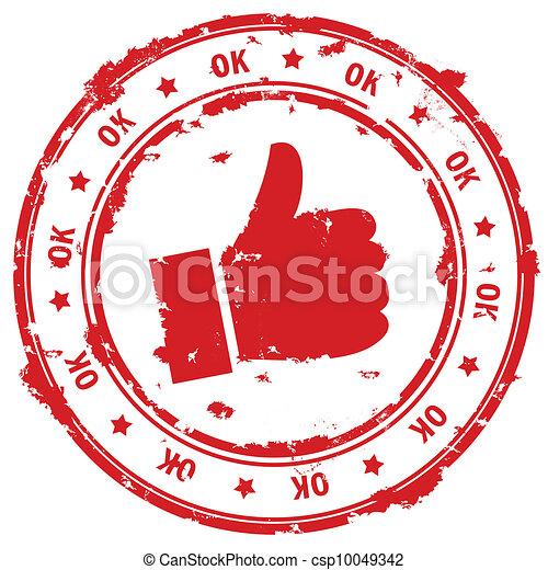 Ok hand rubber stamp. - csp10049342