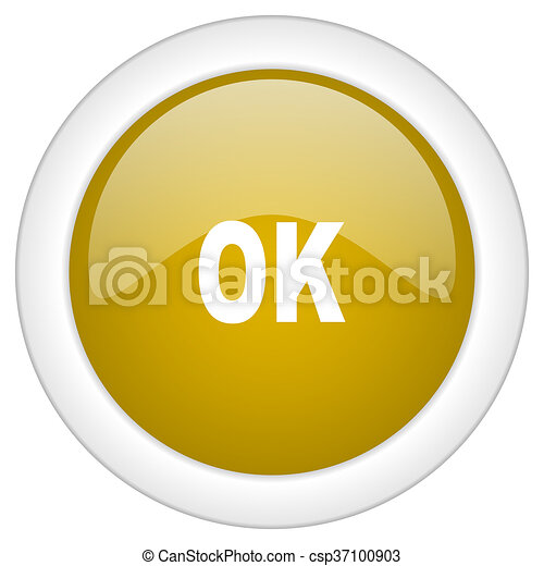 ok icon, golden round glossy button, web and mobile app design illustration - csp37100903