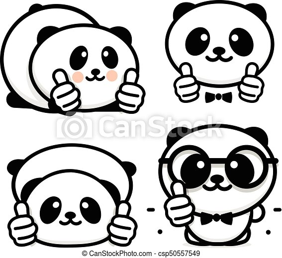Funny Little Cute Panda Showing Gesture With Hand Abstract Symbol Of Approval And