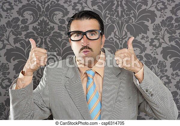 ok, positivo, mão, retro, homem negócios, nerd, gesto, homem - csp6314705