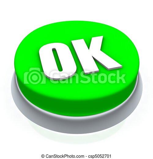 OK round button 3d. Isolated on white. - csp5052701