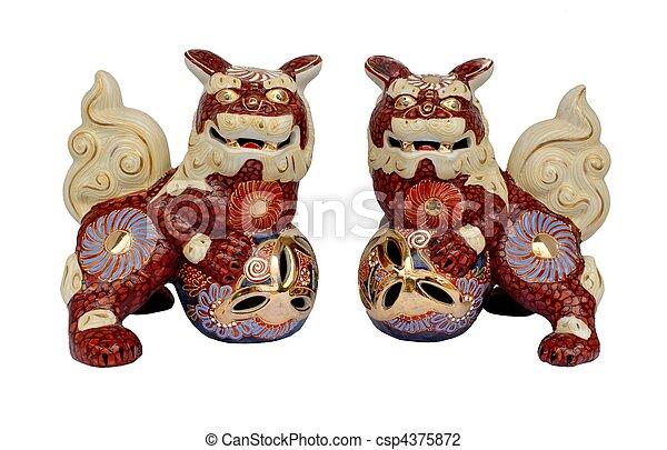 Okinawan shi shi dogs - csp4375872
