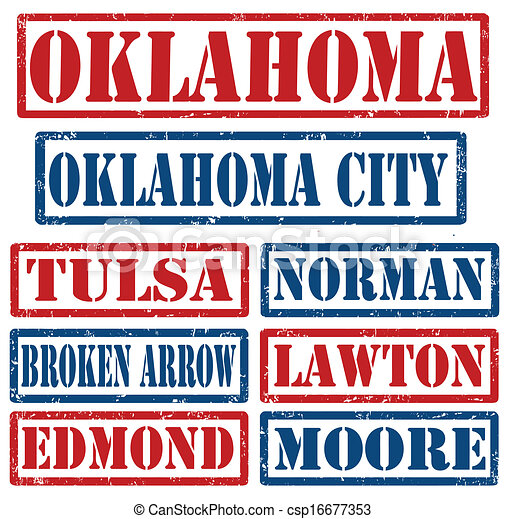 Oklahoma Cities stamps - csp16677353