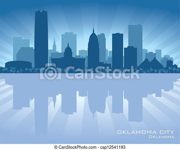 Oklahoma City skyline silhouette - csp12541193