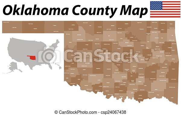 Oklahoma county map A large and detailed map of the state