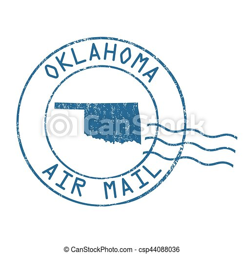 Oklahoma post office, air mail stamp - csp44088036