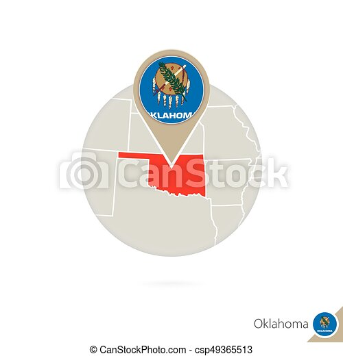 Oklahoma Us State Map And Flag In Circle Map Of Oklahoma Vector
