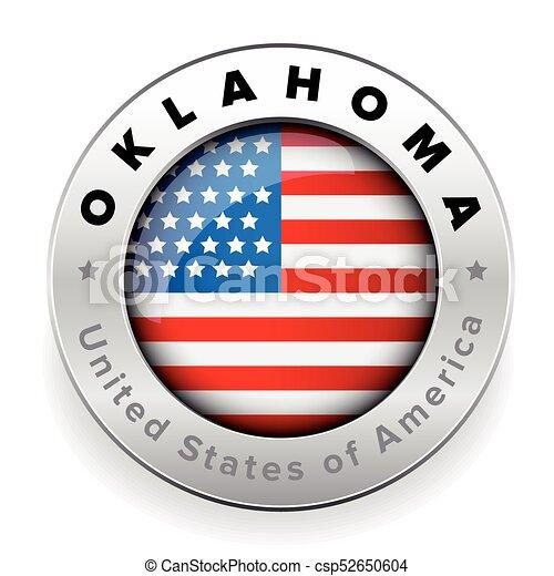 Oklahoma Usa flag badge button - csp52650604