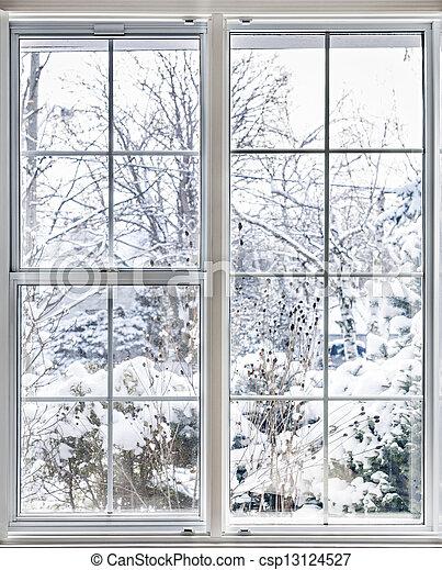 okno, przez, zima, prospekt - csp13124527